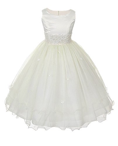 Satin Bodice Communion Dress with Floral Waistband and Tulle Skirt IV – 16