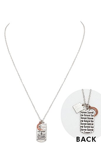 "Rosemarie Collections Women's Dog Tag Charm Pendant Necklace ""You Are My Sun, Moon and Stars"""