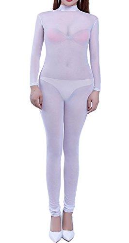 8c32d4aa7200 Zukzi Womens See Through Lingerie Jumpsuit Long Sleeve Mesh Full Bodysuits