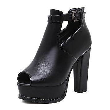 GLL&xuezi Mujer Botas Botas hasta el Tobillo Otoño Semicuero Casual Vestido Hebilla Tacón Robusto Negro 10