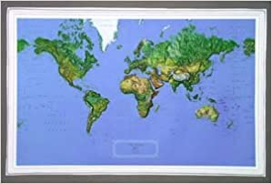 Raised Relief World Map.Hubbard Scientific Raised Relief Map K Wo3422 World Ncr 34 Inch
