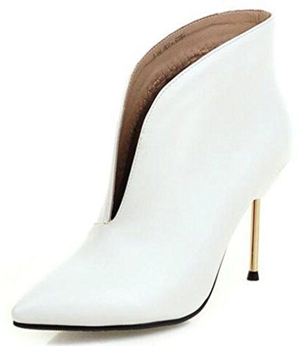 Ankle Women's Boots Wedding Stiletto Toe Unique Booties Pointed Short IDIFU Heels Slip On White High qvxPcqWd