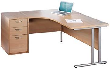 Madera de haya compacto 1400 ergonómico mano izquierda escritorio ...