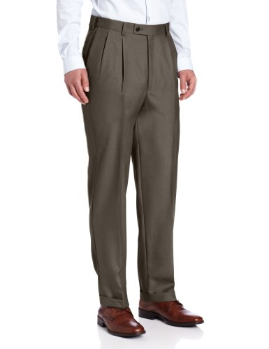 Louis Raphael LUXE Men's 100% Wool Pleated Dress Pant with Hidden Extension Waist Band, Bark, 38x34 -