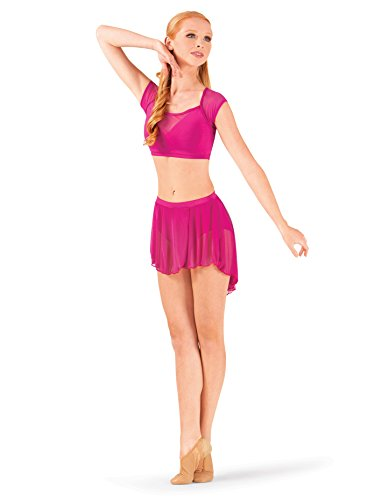 (Body Wrappers Adult High-Low Mesh Dance Skirt BW9108LBLXSS Light Blue XSS)