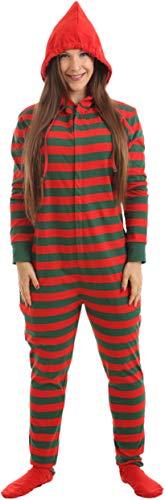 Funzee Women's Men's Striped Onesie Footed Pajamas -