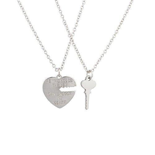 Lux Accessories Unlock My Heart Lock Key Charm Valentine Best Friends Pendant Chain Necklace Set (Lock And Key Costume)