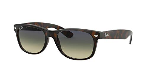 Ray-Ban RB2132 New Wayfarer Polarized Sunglasses, Matte Tortoise/Polarized Green Gradient, 55 mm (Wayfarer Rayban)