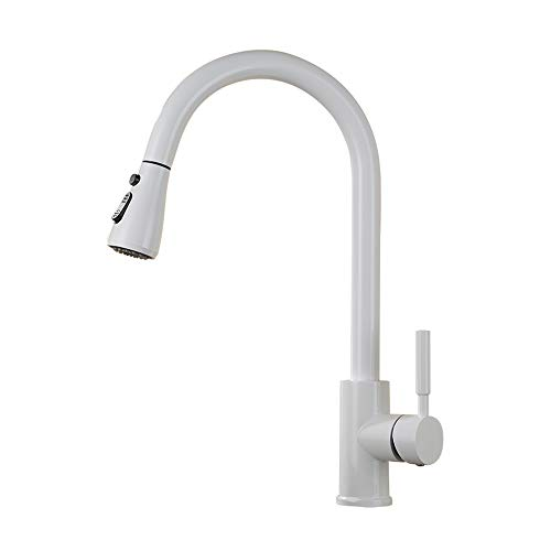 Modenny Kitchen Pull Down Rotate Hot and Cold Water Tap Copper White Paint Sink Pull Out Mixer Tap Deck Installation with Shower Bathroom Bathtub Faucet (Size : A) ()