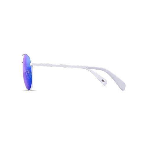 Sol Hombre Blue Unisex Metal Lens Color Gafas Polarizado de frame White frame De Blue Anti sol UV Frame Gafas 8wqIC4FI