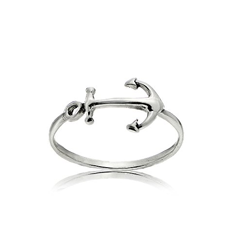 Sterling Silver Polished Nautical Sidways Anchor Ring, Size (Best Glamour Girl Gifts Collection Friend Gifts Anchors)