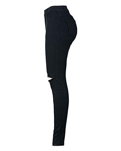 Alta Delle Strappato Nero Jeans Ginocchio Skinny Pantaloni Vita Legging Donna A Donne SIwz1RRxq