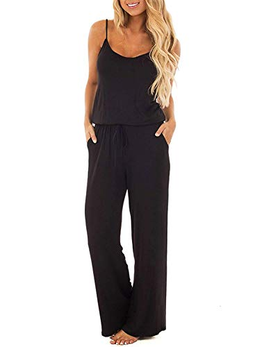 Logtem Womens Spaghetti Strap Scoop Neck Drawstring Pocket Long Jumpsuits Black S
