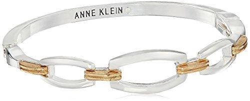 Anne Klein Gold-Silver Tone Hinge Bangle Bracelet