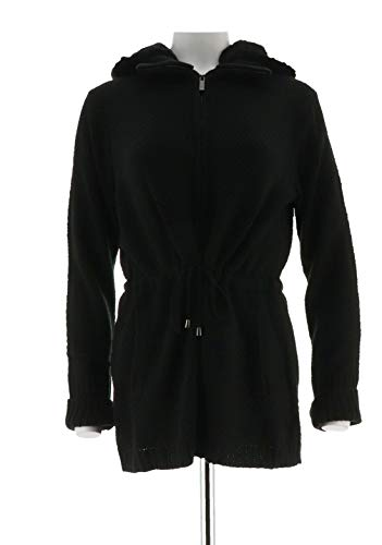 Dennis Basso Chic Textured Sweater Removable Faux Fur Hood Black L # A259801 from Dennis Basso