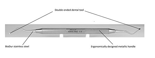 Double End Scaler - Osung Dental File Scaler with Metal Handle, Dental Periodontal File Scaler Tool with Double Working End, File Scaler Standard Dental Scaler Equipment - Code[FSH3-7]