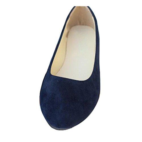 Liebe Zeit Frauen Flache Schuhe Bequeme Slip auf Spitzschuh Ballerinas Schwarz Blau 42