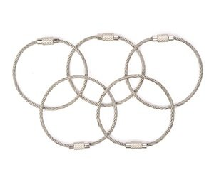 1 X Bluecell 5pcs Silver Color 5.5 Inch Aircraft Key Ring Holder Wire
