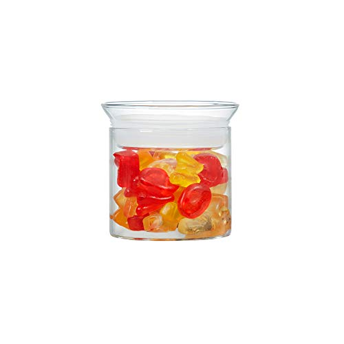 ZENS Glass Canister with Lid, Small Cookie Candy Jars Airtight, Tea Canister for Loose Tea, Herbs, Snacks, 10 oz / 300 ml