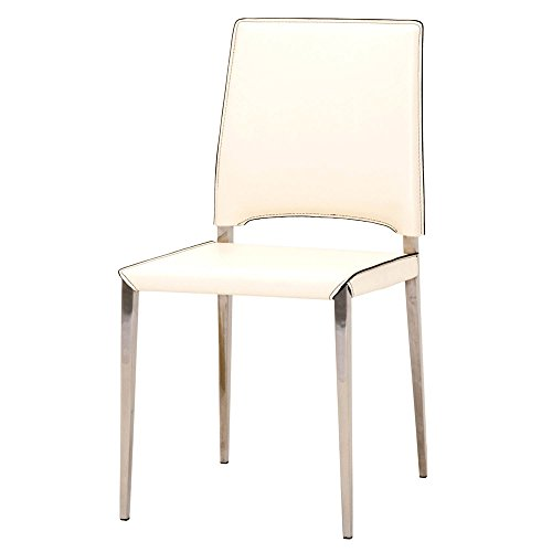 Roslea Bonded Leather and Stainless Steel Dining Chair - Set of 2, Cream
