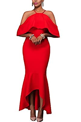 Alvaq Women's Sexy Off The Shoulder Ruffled Mermaid Evening Party Maxi Dress