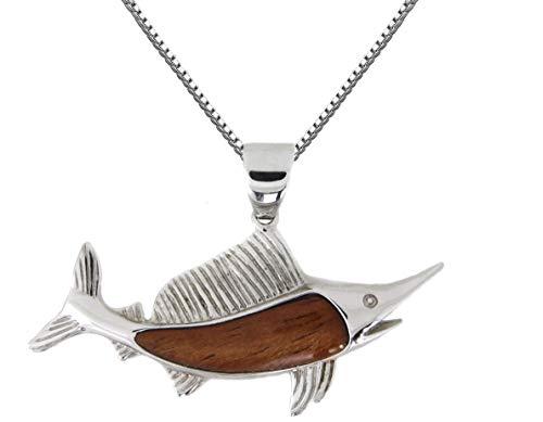 - Aloha Jewelry Company Sterling Silver Koa Wood Sailfish Necklace Pendant with 18