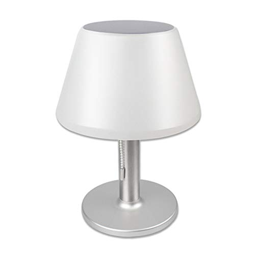 Solar Table Lamp, 10 LED Waterproof Eye Protection Decorative Table Lights Bedside Lamp with White Drum Shade & Stainless Steel Base, for Garden Tables, Outdoor Dinning, Bedroom Decoration(silver)
