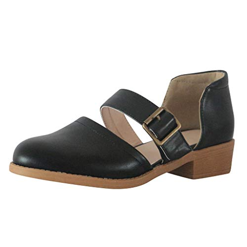 2019 Summer Retro Womens Elegant Pumps,Ladies Low-heele Strap Buckle Non-Slip Soft Roman Leather Single Sandals Shoes (Black, US:7)