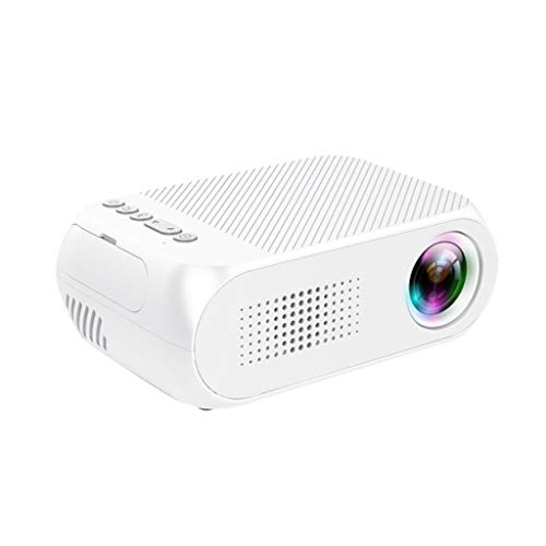 1080P HD LED 3D Mini Projector,Home Cinema Theater with Speaker Household Portable Micro HDMI Remote Video Projector (White)