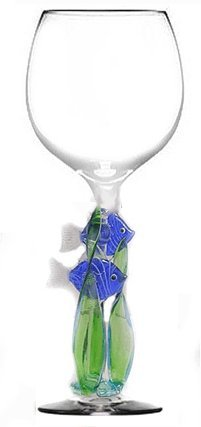 Blue Tang Fish and Seaweed Hand Made Wine Glass from Yurana Designs W245 Review