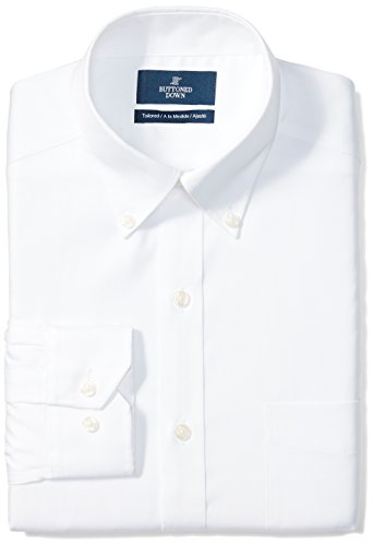 Shirt Mens Down Button Dress (BUTTONED DOWN Men's Tailored Fit Button-Collar Solid Non-Iron Dress Shirt (Pocket), White, 17