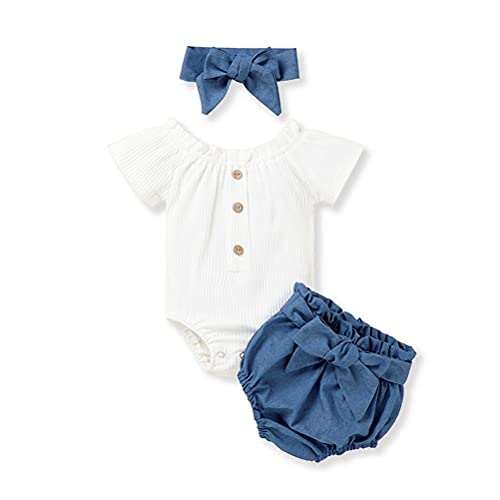 Newborn Baby Girls Ribbed Solid Romper Tops Bloomer Shorts Headband 3PCS Outfits (White, 6-12 Months)