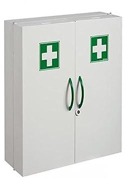 Armoire à pharmacie blanche 2 portes fermeture magnétique et serrure à clé L52 x H54 x P20 cm