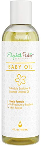 Organic Calendula Baby Massage Oil - Natural Skin Moisturizer with Vitamin E, Sunflower and Lavender Essential Oils - Infant Rash, Cradle Cap, and Eczema Treatment - Safe and Chemical Free (4oz)