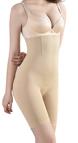 Qianerzi Firm Tummy Control Shapewear, Butt Lifter Shapewear Hi-Waist Seamless Thigh Slimmer Underwear for Women (Nude, (Hi Waist Smoother)