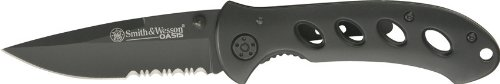 Smith and Wesson SW423BS Oasis Serrated Drop Point Blade Knife, Black Titanium Coated Handle and Blade, Outdoor Stuffs