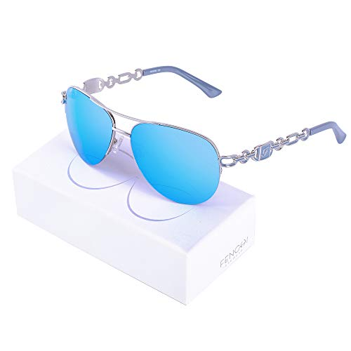 Fenchi Sunglasses For Women Driving Aviator Stereoscop Classic Vintage Eyewear Sunglasses Women 0257 (lens:blue revo/frame:shiny silver/temple:grey)