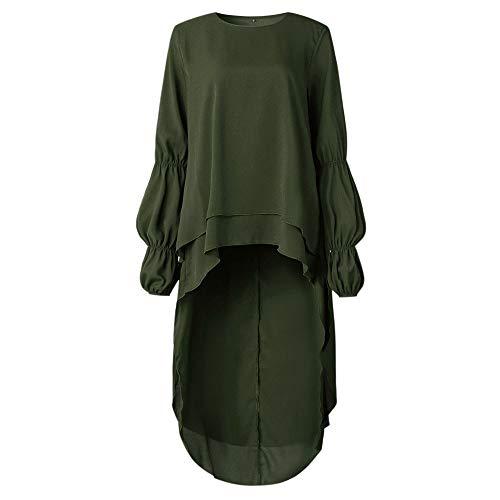 Vestito Lunga Donna Taglie Camicia Camicia T Blouse Balze a Lungo Tunica Forti Shirt Verde Longra Felpa Top Sciolta Manica con Girocollo Asimmetrico Camicie da Casual Elegante Camicetta TYqwSS