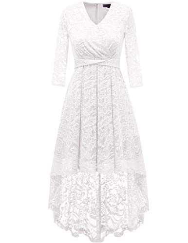 DRESSTELLS Women's Bridesmaid Dress Hi-Lo Floral Lace Cocktail Party Swing Dress White L