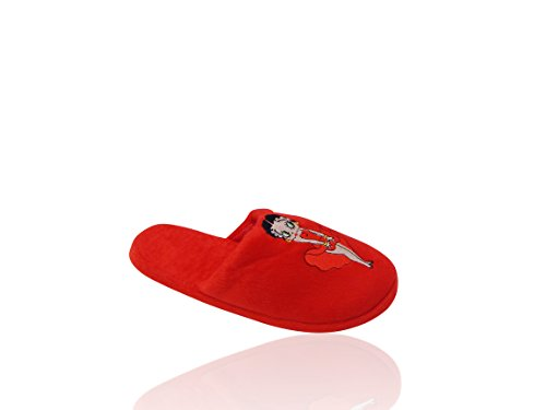 Betty Boop Ultra-myke Kvinne Plysj Pinup Scuffs Koselige Skli Tøfler - Flott For Gaver Belle Rødt