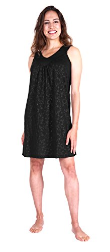 Cool-jams Moisture Wicking Gathered Tank Nightgown(S-2X) (Large(12/14), Black-Vine)