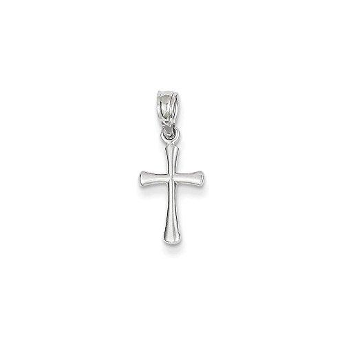 14K White Gold Mini Beveled Cross Pendant (0.79 in x 0.35 - White 14k Gold Beveled Cross