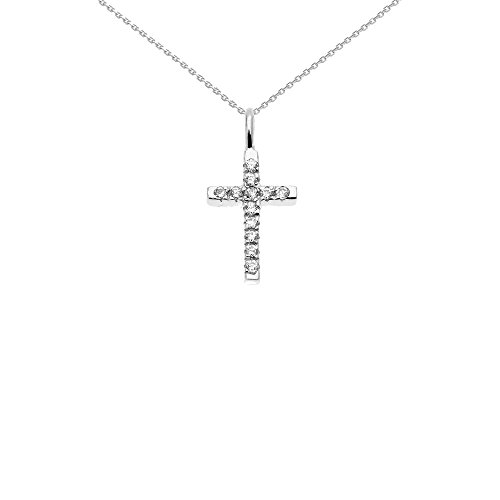- Religious Jewelry by FDJ Beautiful Dainty Tiny 14k White Gold Diamond Cross Charm Pendant Necklace, 16