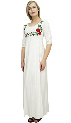 exclusive manches brod Blanc Rayon Robes Bimba Robe 3 longues 5tgFwqxn