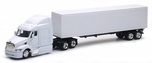 Peterbilt Tractor Trailer Diecast Toy - New Ray SS-15553D 1: 43 Long Haul Trucker - Peterbilt Model 387 (Plain White)