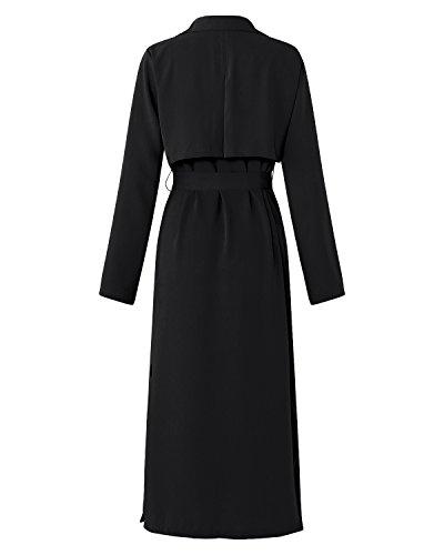 Casual Blazer Noir Manteau Femmes Style Chic Gilet Longue D'hiver Outwear Kidsform Coat Blouson Veste Trench Fashion Lache Fluide 65TWxq