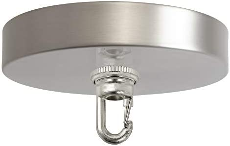 Flea Market Rx 5 Inch Heavy Duty Chandelier Canopy Kit 50 LB Hook, Ceiling Light Cover Plate, Screw Collar Snap Hook, Mounting Hardware for Hanging Chained Pendant Lighting, Made in USA Satin Nickel