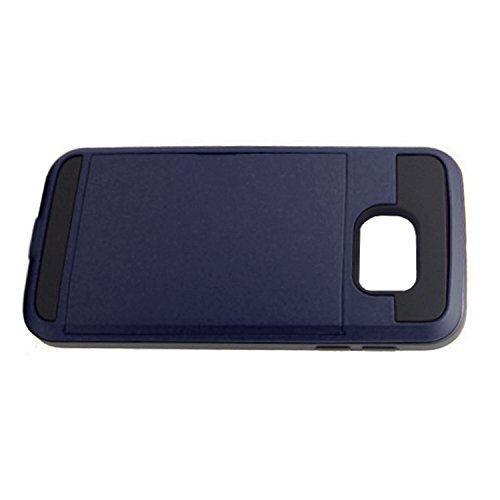 Telefon-Kasten - SODIAL(R)Karte Tasche Stossfeste Duenne Hybrid Mappe Abdeckung fuer Samsung Galaxy S6 Marine Blau