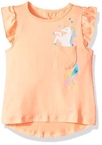 Colette Lilly Girls' Toddler Short Sleeve Knit Top, Apricot Unicorn, - Tees Girls Graphic Foil