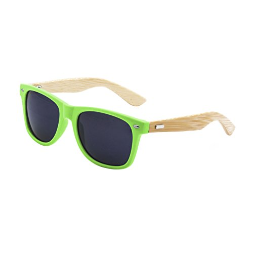 LogoLenses Men's Bamboo Wood Arms Classic Sunglasses -